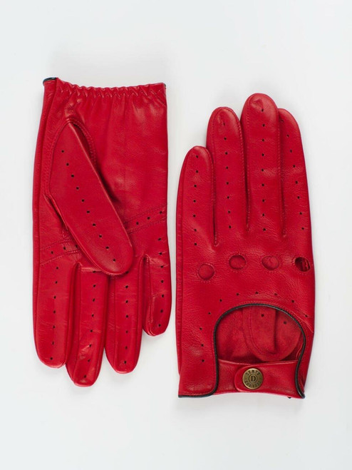 Red Dents Leather Driving Gloves