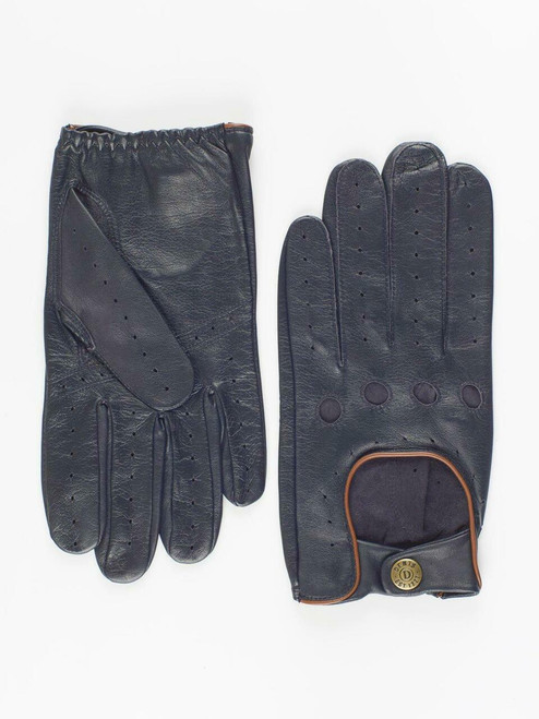 Navy Dents Leather Driving Gloves