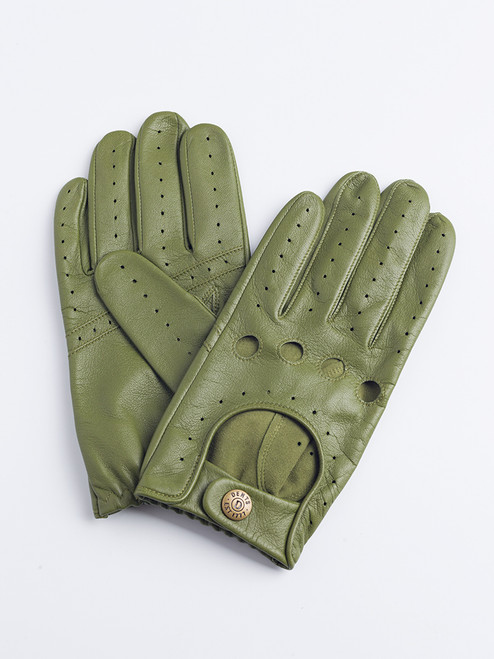 Green Dents Leather Driving Gloves