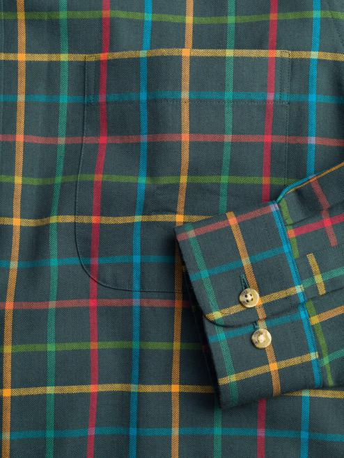 Convertible cuff of Green Viyella Wool & Cotton Shirt
