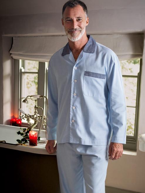 Model wears Luxury Cotton and Cashmere Pyjamas