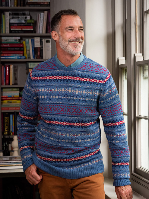 Blue Fairisle Crew Neck Sweater