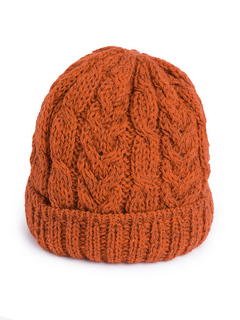Tan Cable Knit Wool Beanie