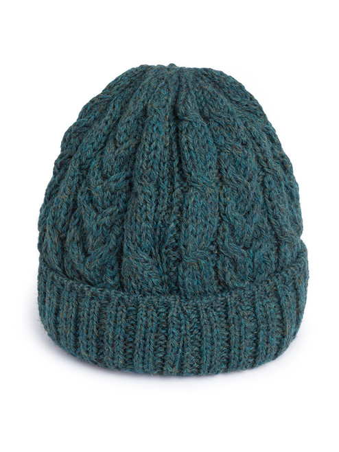 Blue Cable Knit Wool Beanie