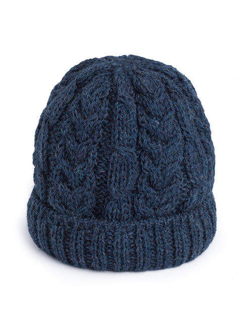 Navy Cable Knit Wool Beanie