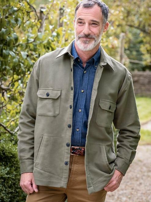 Lovat Green 100% Cotton Moleskin Overshirt