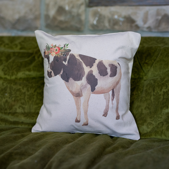Watercolor Floral Cow Pillow