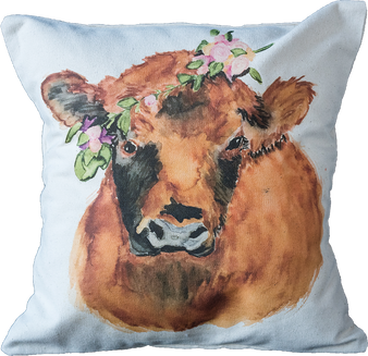 Red Floral Cow Pillow