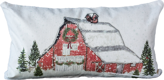 Red Christmas Barn Pillow