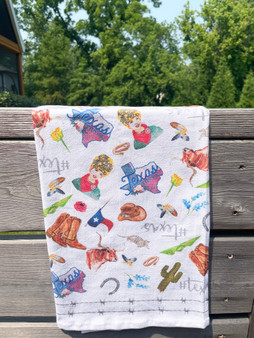 Texas Collage Flour Sack Towel (PRE-ORDER for SEPT delivery)