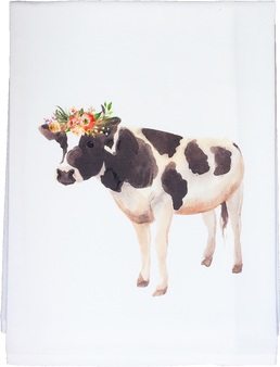 Watercolor Floral Cow
