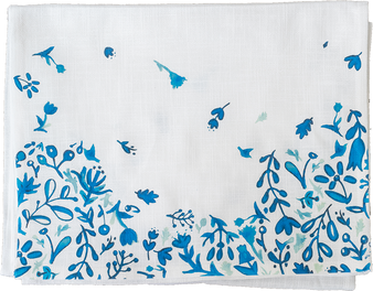 Blue Watercolor Flowers Runner