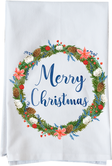 Merry Christmas Watercolor Wreath