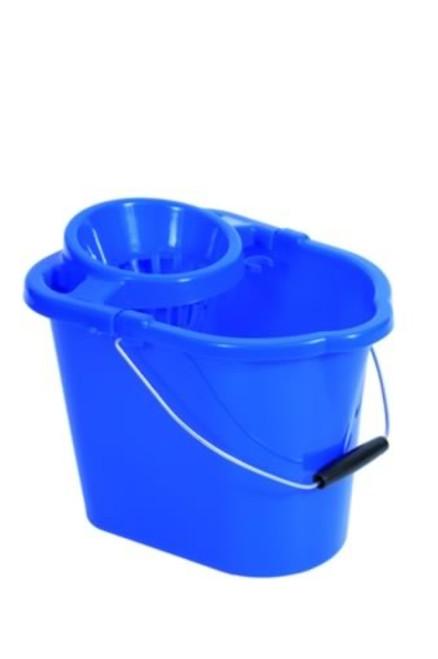 Mop Bucket & Squeezer - Plastic Blue 12ltr