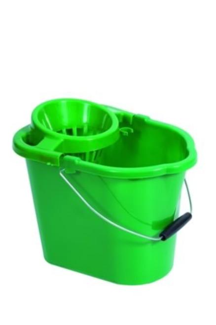 Mop Bucket & Squeeze - Plastic Green 12ltr