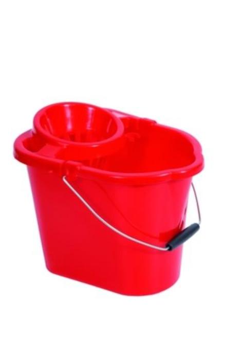 Mop Bucket & Squeeze - Plastic Red 12ltr