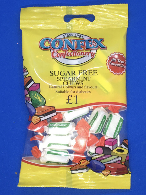 Confex SUGAR FREE Spearmint Chews  £1 Bags x 12