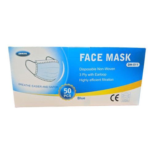 Disposable 3 layer masks with flexible nose bone.