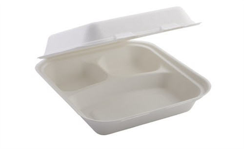 Bagasse Lidded 3 Compartment Meal Box Large 235x230x70mm x 100