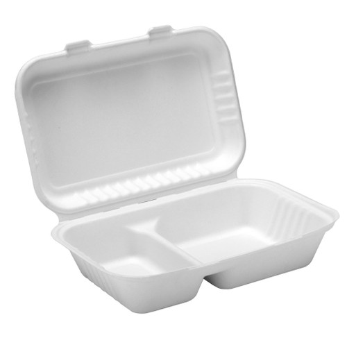 Bagasse Lidded 2 Compartment Meal Box 165X250X60mm x 125
