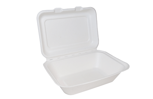Bagasse Lidded Meal Box Large 235x230x75mm x 100