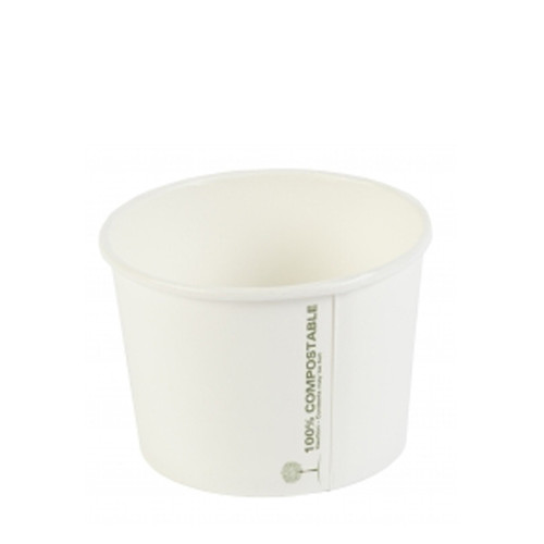 White Compostable Soup Container 12oz x 25