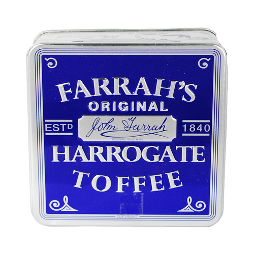 Farrahs of Harrogate Toffee Embossed Flat Tin 100g