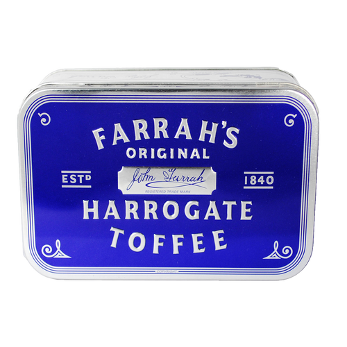 Farrahs of Harrogate Toffee Embossed Crescent Tin 300g