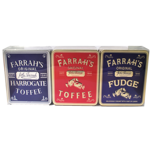 Farrahs of Harrogate Embossed Flat Tin Triple Gift Set 300g