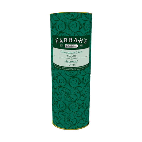 Farrahs of Harrogate - Toffee Selection & Chocolate Chip Biscuits Drum 275g