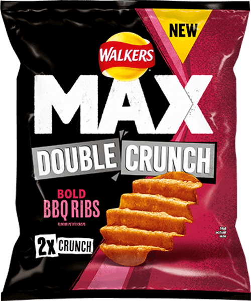 Walkers Crisps Max Double Crunch - BBQ Ribs 50g x 24