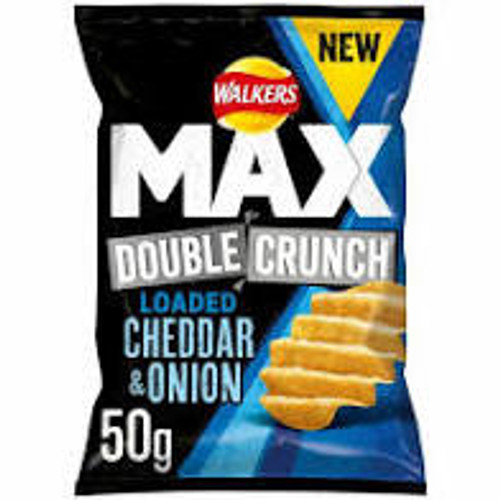Walkers Crisps Max Double Crunch - Cheddar & Onion 50g x 24