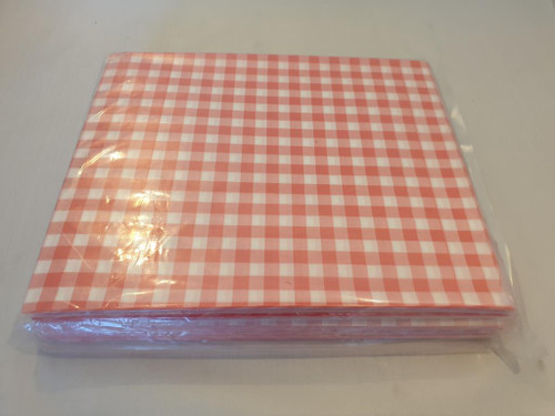 Burger/ Food Open Sided Printed Bags - Red Gingham 160 x 170 x 1000