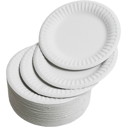 "White Paper Disposable Plates 7"" x 100"