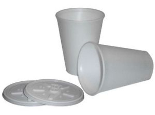 Polystyrene Disposable Cups & Lids 12oz x 100