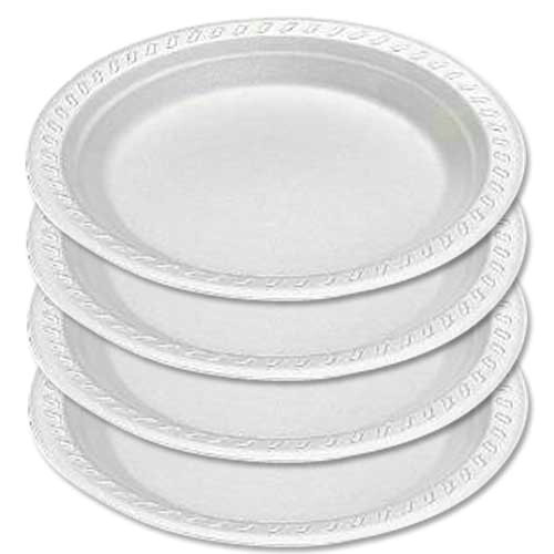"Polystyrene Disposable Plates 9"" x 100"