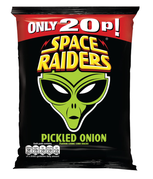 Space Raiders Crisps - Pickled Onion (30p Price Marked) 25g x 36