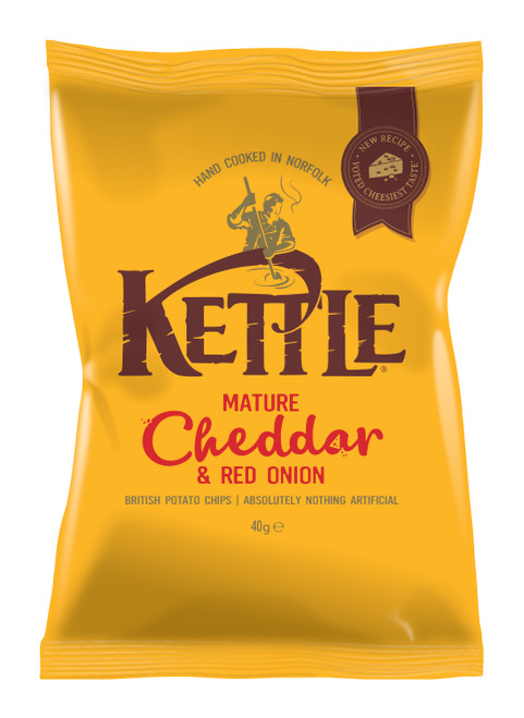 Kettle Chips (Crisps) Mature Cheddar & Red Onion 40g x 18