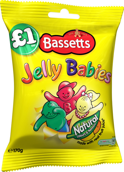 Bassetts Jelly Babies Sweets Bags £1 (Price Marked) 130g x 12
