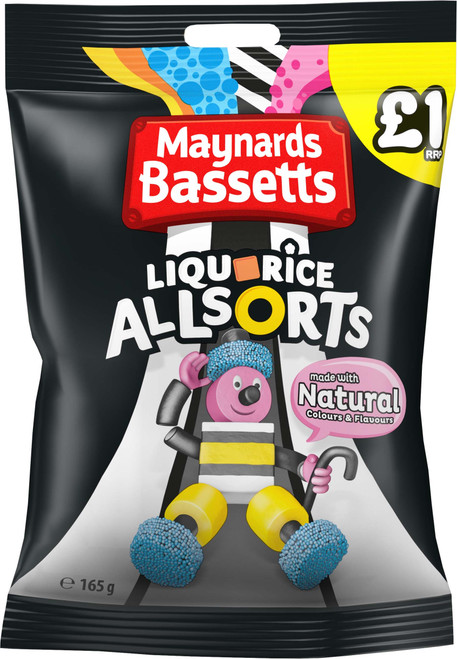 Bassetts Liquorice Allsorts Sweets Bags £1 (Price Marked) x 12