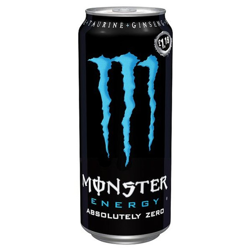 Monster Energy Absolute Zero (Price Marked £1.29) Cans 500ml x 12