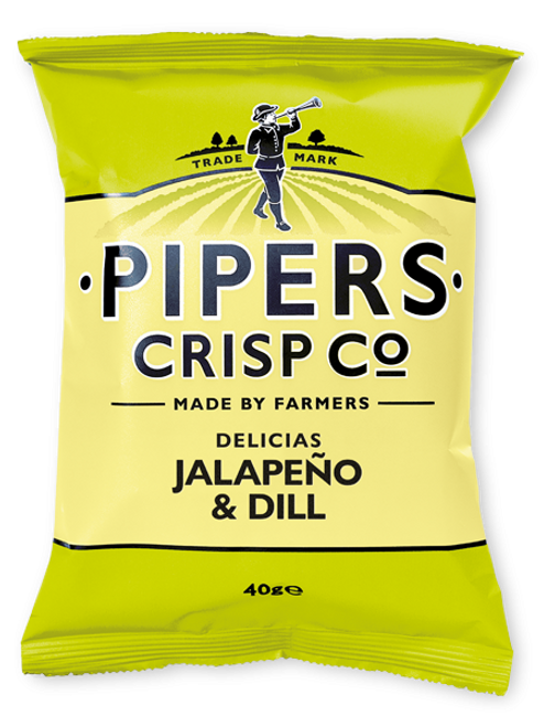 Pipers Crisps - Delicias Jalapeno & Dill 40g x 24