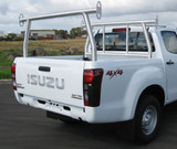 D-Max with the fully collapsible Isuzu D-Max Cab Guard Ladder Rack. Satin finish.