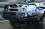 Isuzu D-Max Steel Replacement Bullbar. Black finish with skid plate and fog lights.
