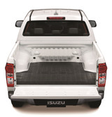 Isuzu D-Max rubber deck mat pictured installed on a white LS Double Cab D-Max ute.