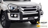 Isuzu MU-X polished bumper replacement bullbar. Suits 2017 & 2018 Mu-X. Kit includes all mounting hardware.