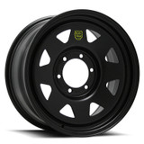 "16"" ROH black track steel wheels which are suitable for the Isuzu D-Max ute and MU-X SUV. Black finish"