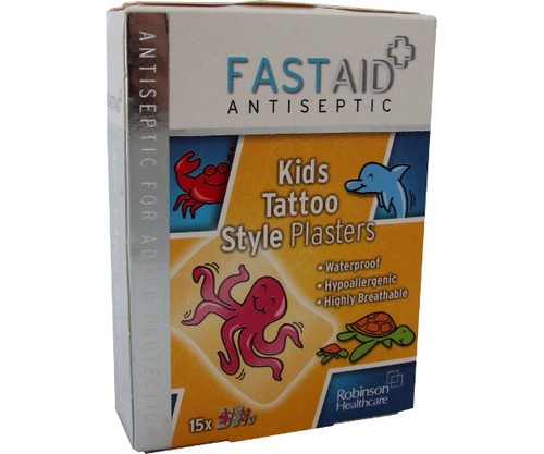 Fast Aid Antiseptic Kids Waterproof Tattoo Plasters (Pack of 15)