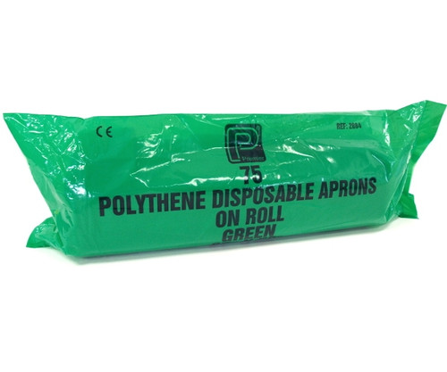 Green Polythene Disposable Heavy Duty Aprons (Pack of 75)