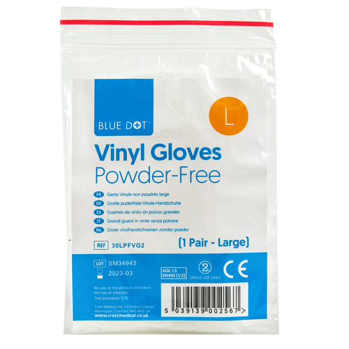 Vinyl Medium Gloves (1 x Prepacked Pair)